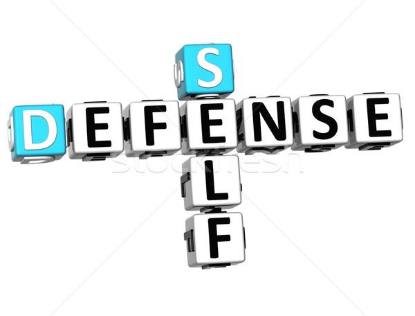 3D zelfverdediging kruiswoordraadsel kubus woorden witte Stockfoto © Mariusz_Prusaczyk