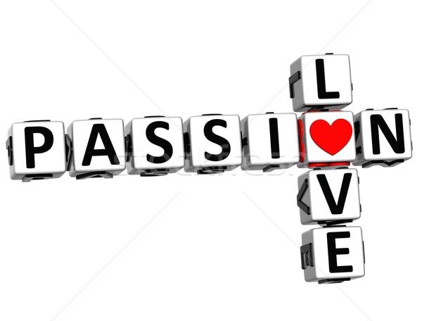 Foto stock: 3D · pasión · amor · crucigrama · texto · blanco