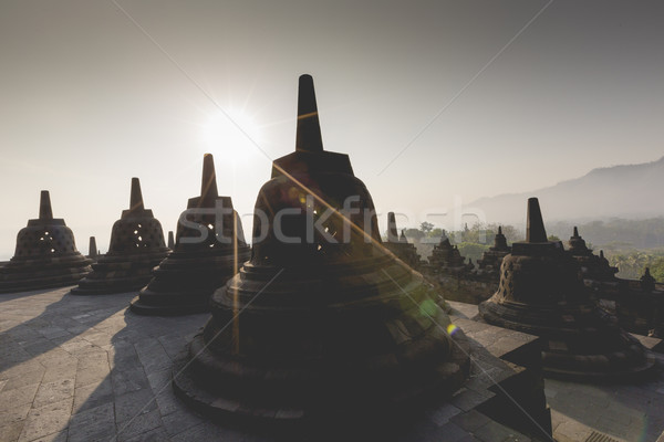 Buddist temple Borobudur on sunset background. Yogyakarta. Java, Stock photo © Mariusz_Prusaczyk