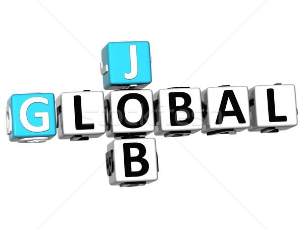 Foto stock: 3D · global · nuvem · trabalho · palavras · cruzadas · cubo