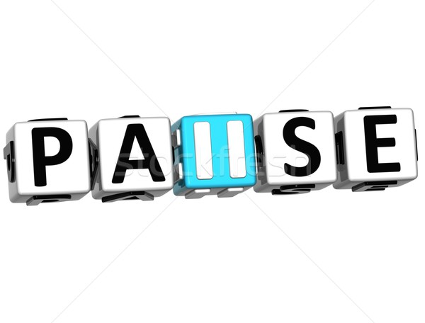 3D Pause block text Stock photo © Mariusz_Prusaczyk