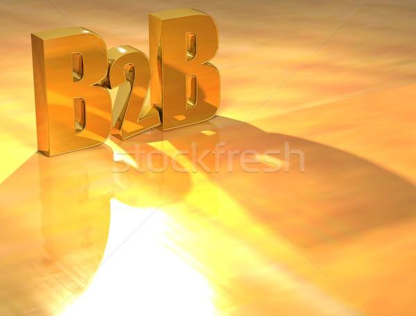 3D b2b золото текста желтый бизнеса Сток-фото © Mariusz_Prusaczyk