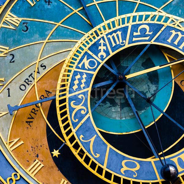 Detail Praag sterrenkundig klok oude binnenstad zon Stockfoto © Mariusz_Prusaczyk
