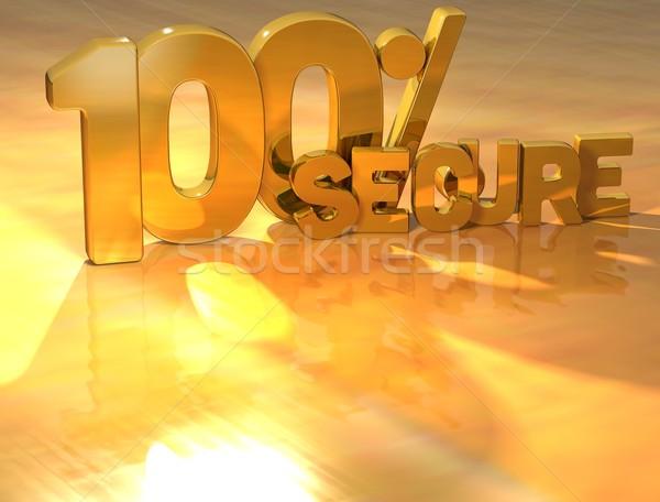 3D 100 Percent Secure Gold Text Stock photo © Mariusz_Prusaczyk