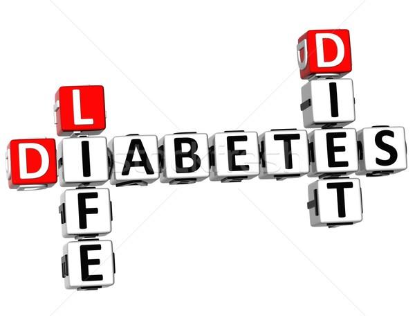 Stockfoto: 3D · suikerziekte · leven · dieet · kruiswoordraadsel · witte