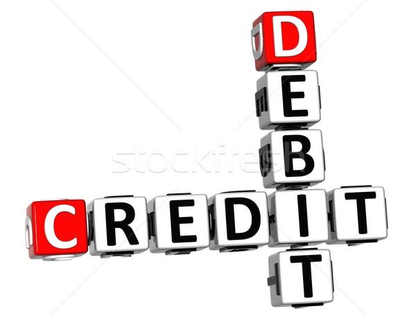 3D кредитных дебет кроссворд текста белый Сток-фото © Mariusz_Prusaczyk
