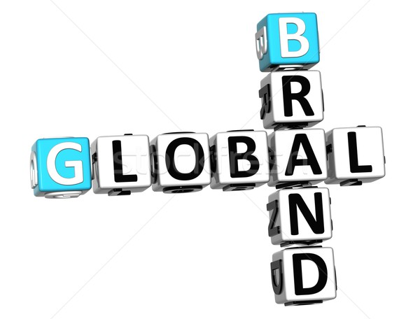 3D globale merk kruiswoordraadsel tekst kubus Stockfoto © Mariusz_Prusaczyk