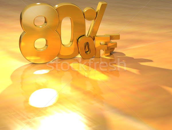3D до 80 процент золото текста желтый Сток-фото © Mariusz_Prusaczyk