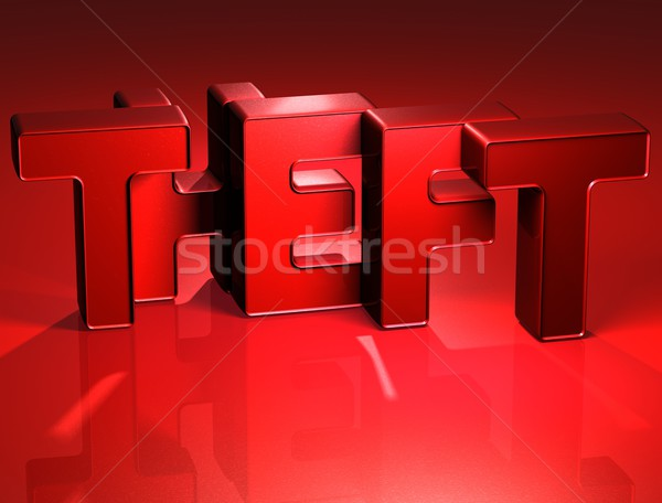 3D Word Theft on red background Stock photo © Mariusz_Prusaczyk