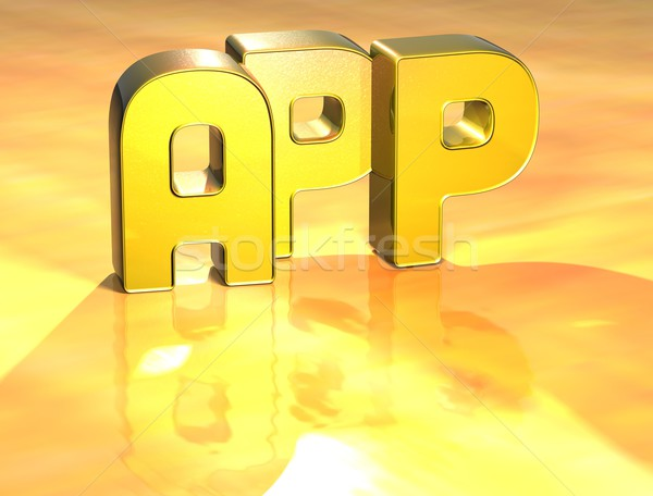 3D Word App on gold background Stock photo © Mariusz_Prusaczyk