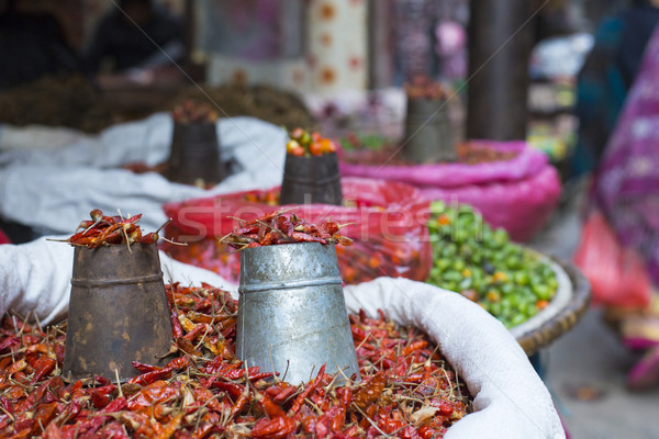 The street vendor sels his fruits and vegetables in Thamel in Ka Stock photo © Mariusz_Prusaczyk