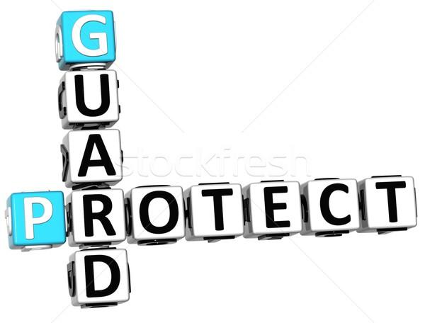 3D Protect Guard Crossword Stock photo © Mariusz_Prusaczyk