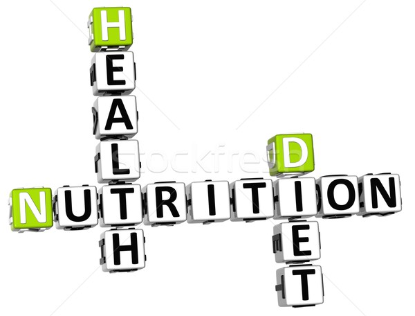 3D nutrition santé régime alimentaire mots croisés blanche Photo stock © Mariusz_Prusaczyk