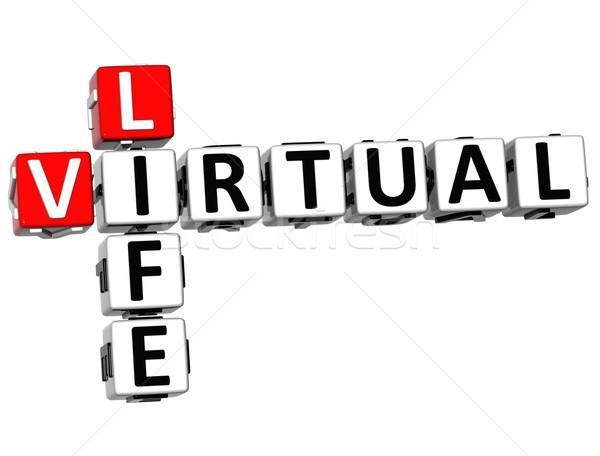 Zdjęcia stock: 3D · faktyczny · życia · krzyżówka · kostki · słowa