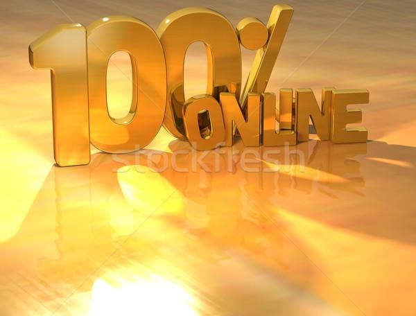 3D 100 Percent Online Gold Text Stock photo © Mariusz_Prusaczyk