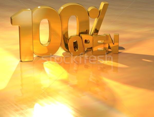 Photo stock: 3D · 100 · pour · cent · ouvrir · or · texte