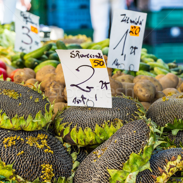 Sunflower with seeds for sale at farmers market. Poland. Stock photo © Mariusz_Prusaczyk