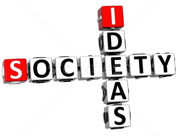 3D sociedad ideas crucigrama cubo palabras Foto stock © Mariusz_Prusaczyk