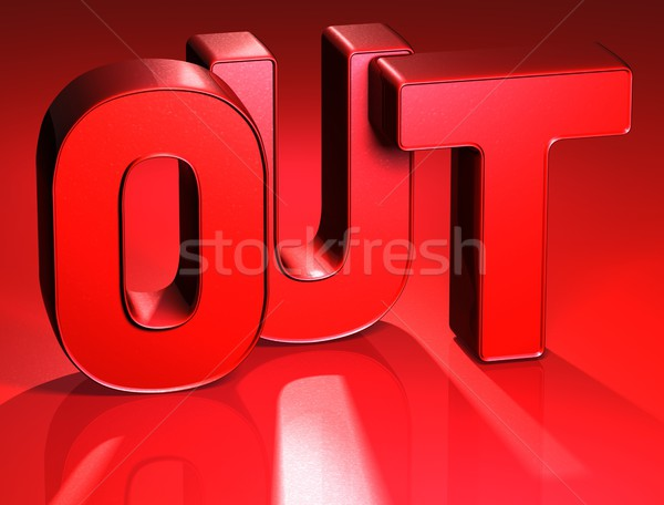3D Word Out on red background Stock photo © Mariusz_Prusaczyk