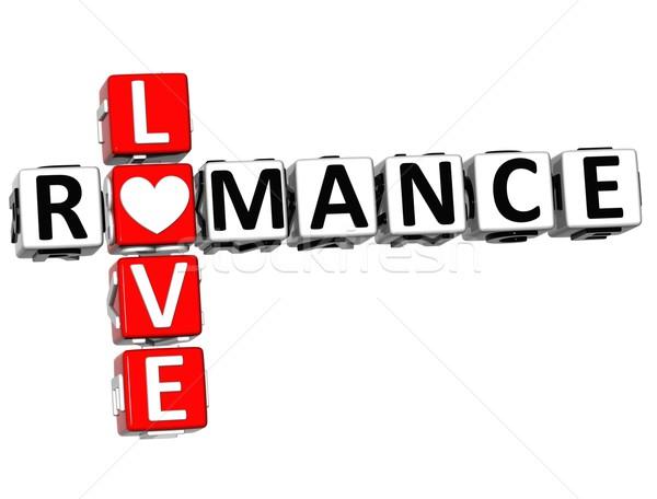 Foto stock: 3D · romance · amor · crucigrama · texto · blanco