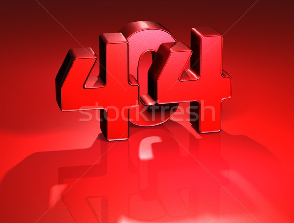 Stock photo: 3D 404 Error on red background