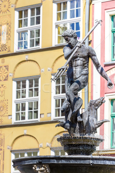 Poland - Gdansk city (also know nas Danzig) in Pomerania region. Famous Neptune fountain at Dlugi Ta Stock photo © Mariusz_Prusaczyk