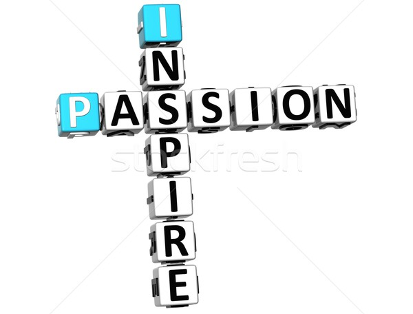 3D Inspire Passion Crossword text Stock photo © Mariusz_Prusaczyk
