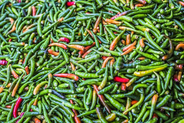 Green chili peppers, closeup view Stock photo © Mariusz_Prusaczyk