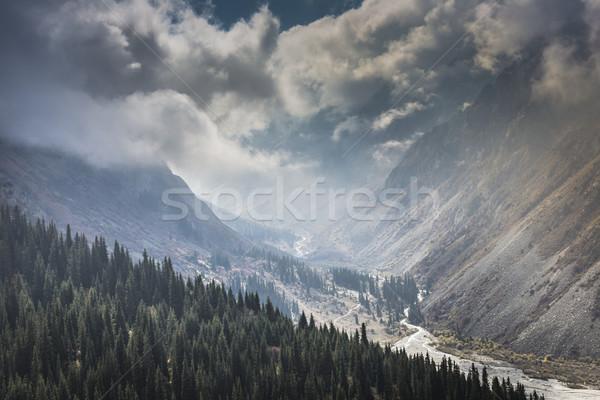 Panoráma hegy tájkép összeg nap Kirgizisztán Stock fotó © Mariusz_Prusaczyk