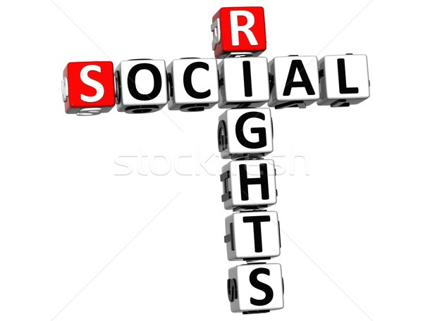 3D социальной правые кроссворд куб слов Сток-фото © Mariusz_Prusaczyk