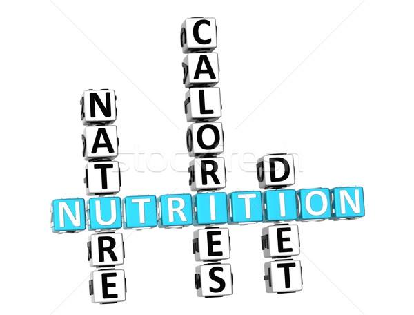 Stock foto: 3D · Ernährung · Gesundheit · Ernährung · Kreuzworträtsel · weiß