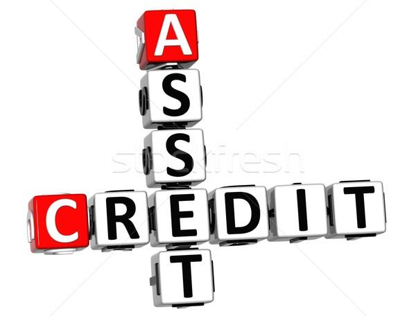 3D kredytowej krzyżówka tekst biały Zdjęcia stock © Mariusz_Prusaczyk