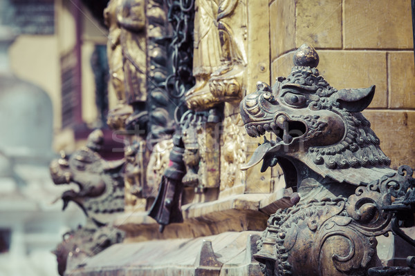 Lions, symbols of power and protection, in Bhaktapur Temple ,the Stock photo © Mariusz_Prusaczyk