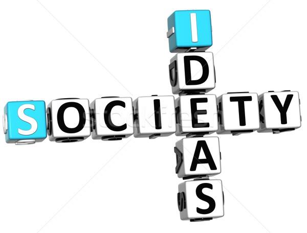 Stockfoto: 3D · samenleving · ideeën · kruiswoordraadsel · kubus · woorden