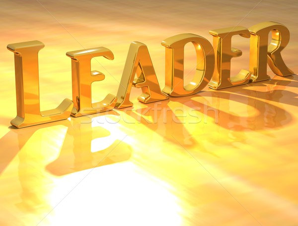 3D Leader Gold text  Stock photo © Mariusz_Prusaczyk