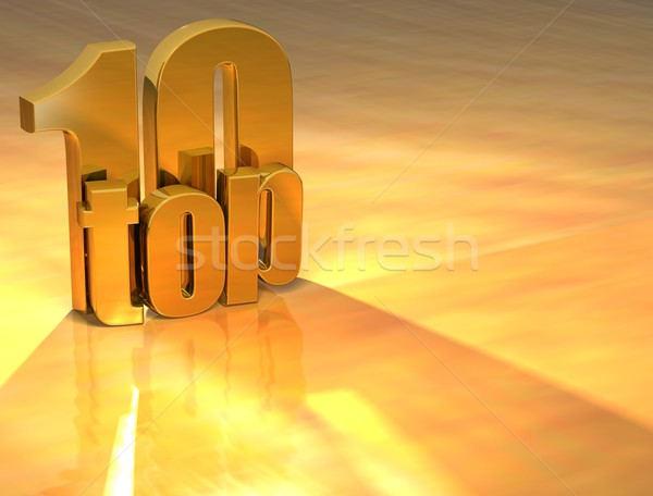 3D top 10 Gold Text gelb Stock foto © Mariusz_Prusaczyk