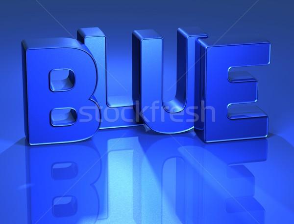 3D Word Blue with mirror on background Stock photo © Mariusz_Prusaczyk