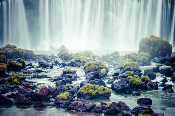 Stock photo: Iguassu Falls, the largest series of waterfalls of the world, view from Brazilian side