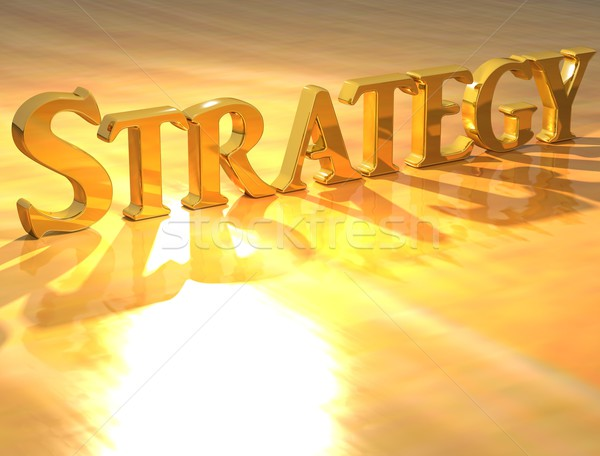 3D stratégie or texte jaune affaires Photo stock © Mariusz_Prusaczyk