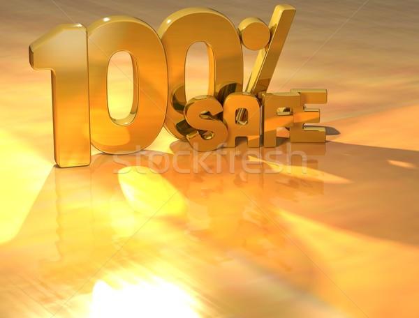3D 100 pour cent sûr or texte Photo stock © Mariusz_Prusaczyk