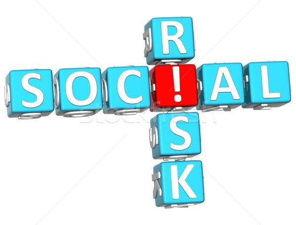 3D sociale risque mots croisés blanche design Photo stock © Mariusz_Prusaczyk