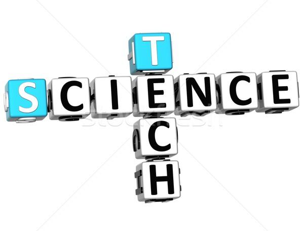 3D science tech mots croisés blanche école Photo stock © Mariusz_Prusaczyk