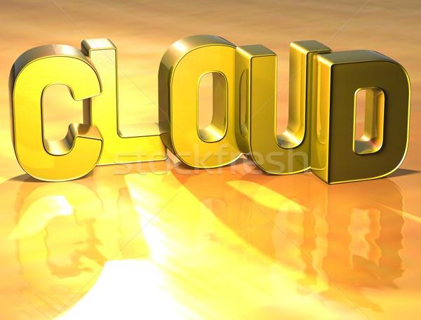 Photo stock: 3D · nuage · de · mots · or · téléphone · technologie · réseau