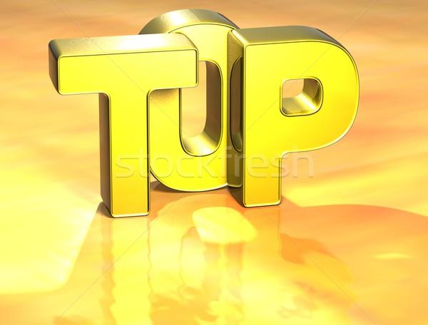 3D Word Top on yellow background Stock photo © Mariusz_Prusaczyk