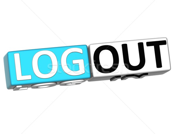 3D Log in out over white background Stock photo © Mariusz_Prusaczyk