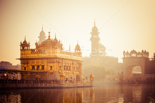 Photo stock: Sikh · or · temple · Inde · horloge · lac