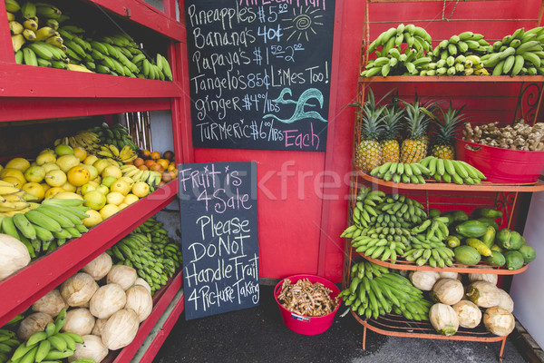 Pineapples and other fruits for sale at a roadside stand on Maui Stock photo © Mariusz_Prusaczyk