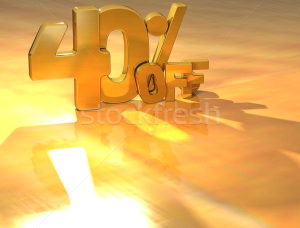 3D 40 cento oro testo giallo Foto d'archivio © Mariusz_Prusaczyk