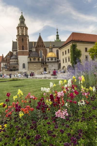 Tuin kasteel Polen gras stad kerk Stockfoto © Mariusz_Prusaczyk