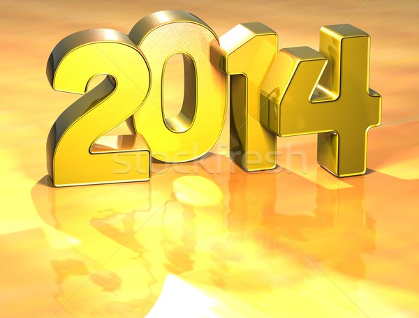 Stock photo: 3D Year 2014 on gold background